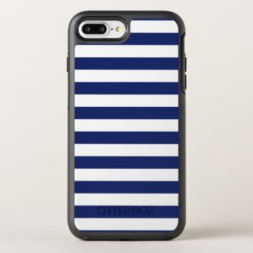 Beach Themed Navy Blue and White Stripe Pattern OtterBox Symmetry iPhone 7 Plus Case