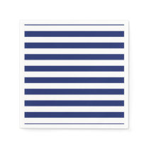 Navy Blue and White Stripe Pattern Paper Napkin