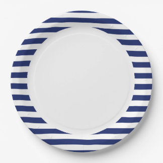 Navy Blue and White Stripe Pattern Paper Plate