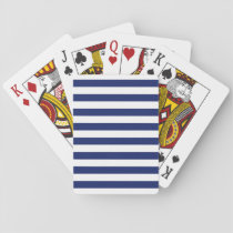Navy Blue and White Stripe Pattern Playing Cards