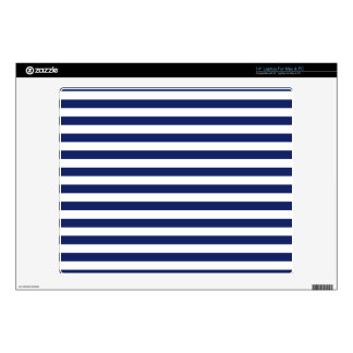 Navy Blue and White Stripe Pattern Skin For Laptop