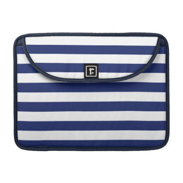 Beach Themed Navy Blue and White Stripe Pattern Sleeve For MacBook Pro