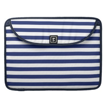 Beach Themed Navy Blue and White Stripe Pattern Sleeve For MacBooks