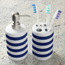 Navy Blue and White Stripe Pattern Soap Dispenser & Toothbrush Holder