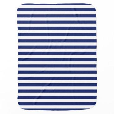 Beach Themed Navy Blue and White Stripe Pattern Stroller Blanket
