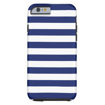Beach Themed Navy Blue and White Stripe Pattern Tough iPhone 6 Case
