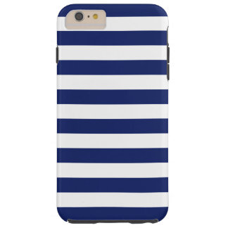 Navy Blue and White Stripe Pattern Tough iPhone 6 Plus Case