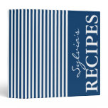 Navy blue and white stripe recipe binder book