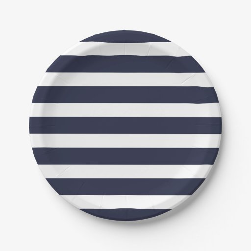 navy blue and white stripes 7 inch paper plate zazzle. Black Bedroom Furniture Sets. Home Design Ideas