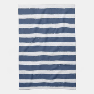 Navy Blue and White Stripes Towels