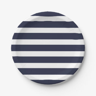Navy Blue and White Stripes Paper Plate