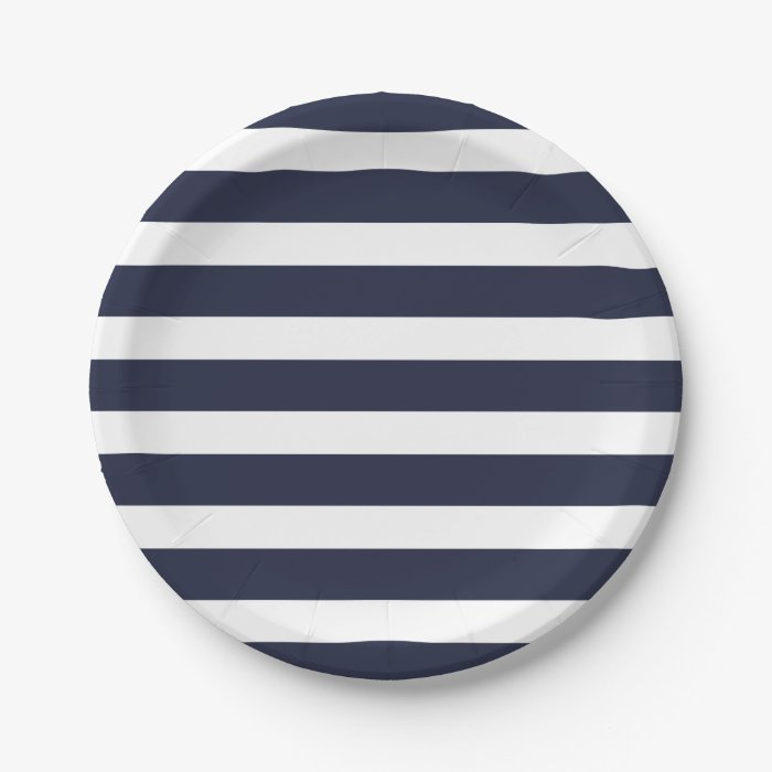 navy blue and white stripes paper plate zazzle. Black Bedroom Furniture Sets. Home Design Ideas
