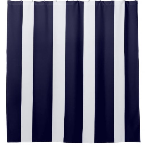 Navy Blue And White Stripes Shower Curtain Zazzle