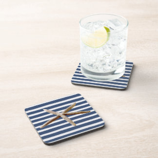 Navy Blue and White Stripes Starfish Drink Coasters