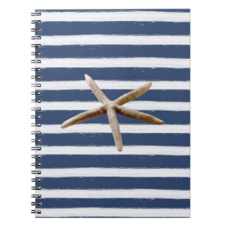 Navy Blue and White Stripes Starfish Notebook