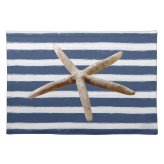 Navy Blue and White Stripes Starfish Cloth Place Mat