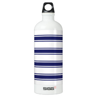 Navy Blue and White Stripes; Striped Aluminum Water Bottle
