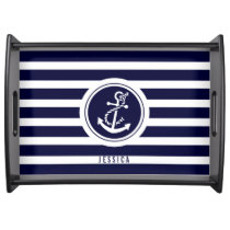 Navy Blue And White Stripes With Nautical Anchor 2 Serving Tray