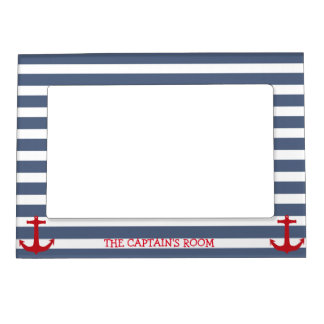 Navy Blue and White Stripes with Red Anchor Magnetic Picture Frame