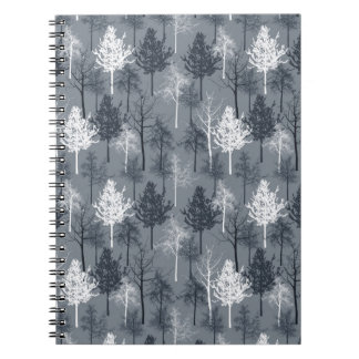 Navy Blue and White Trees Notebook