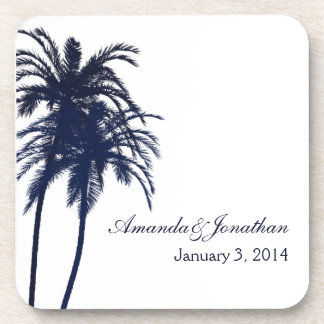 Navy Blue and White Tropical Palm Tree Drink Coaster