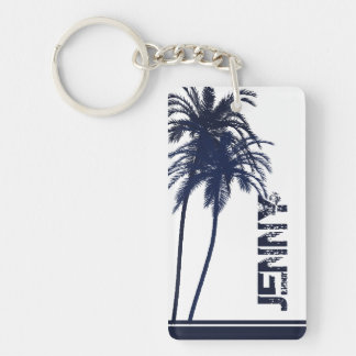 Navy Blue and White Tropical Palm Tree Keychain