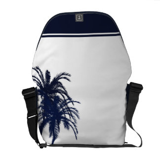 Navy Blue and White Tropical Palm Tree Courier Bags