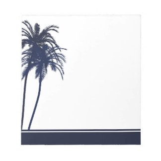 Navy Blue and White Tropical Palm Tree Notepad
