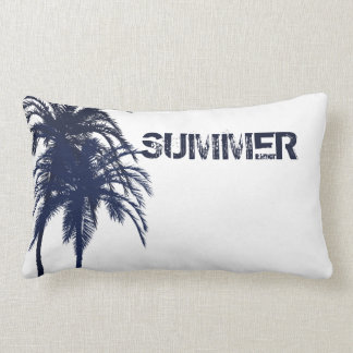 Navy Blue and White Tropical Palm Tree Pillows