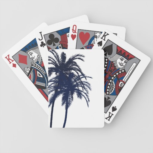Navy Blue and White Tropical Palm Tree Playing Cards