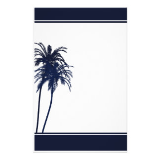 Navy Blue and White Tropical Palm Tree Stationery