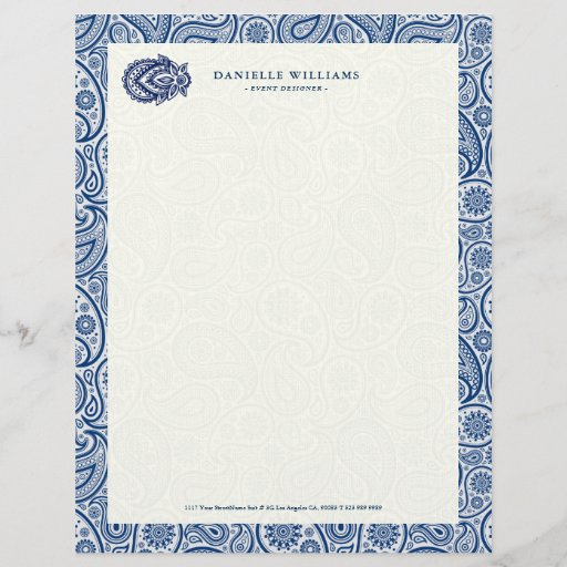 Navy-blue and white vintage paisley letterhead