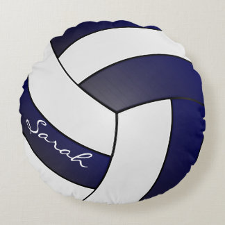 Navy Blue and White Volleyball | DIY Name Round Pillow