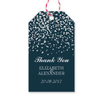 Navy Blue and White Wedding Confetti Pattern Gift Tags