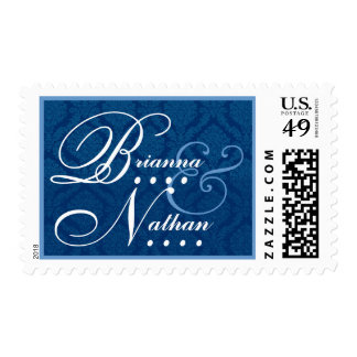 Navy Blue and White Wedding Damask Bride Groom Stamp