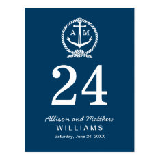 Navy Blue And White | Wedding Table Number Card at Zazzle