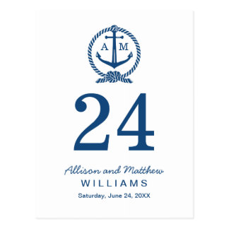 Navy Blue and White | Wedding Table Number Card