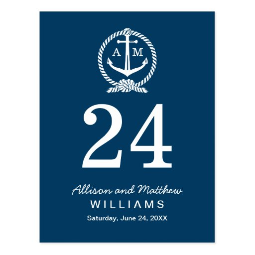 Navy Blue and White | Wedding Table Number Card Post Cards