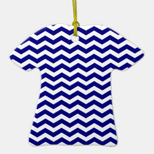 Navy Blue And White Zigzag Chevron Pattern Ornaments