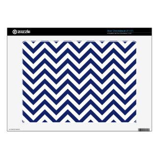 Navy Blue and White Zigzag Stripes Chevron Pattern Acer Chromebook Skin
