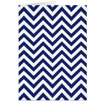 Beach Themed Navy Blue and White Zigzag Stripes Chevron Pattern Card