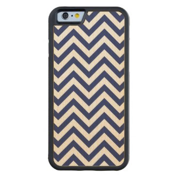 Beach Themed Navy Blue and White Zigzag Stripes Chevron Pattern Carved Maple iPhone 6 Bumper Case