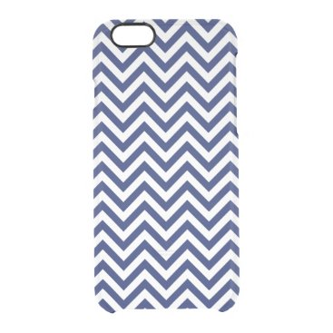 Beach Themed Navy Blue and White Zigzag Stripes Chevron Pattern Clear iPhone 6/6S Case