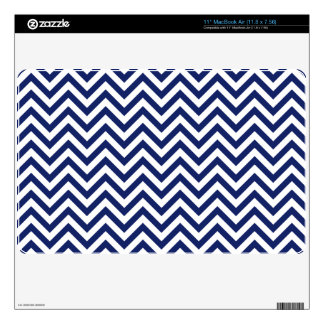 """Navy Blue and White Zigzag Stripes Chevron Pattern Decal For 11"""" MacBook Air"""