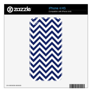Navy Blue and White Zigzag Stripes Chevron Pattern Decals For The iPhone 4