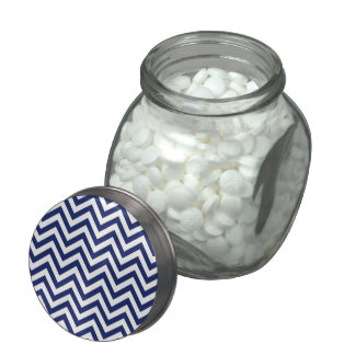 Navy Blue and White Zigzag Stripes Chevron Pattern Glass Jars