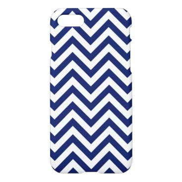 Beach Themed Navy Blue and White Zigzag Stripes Chevron Pattern iPhone 7 Case