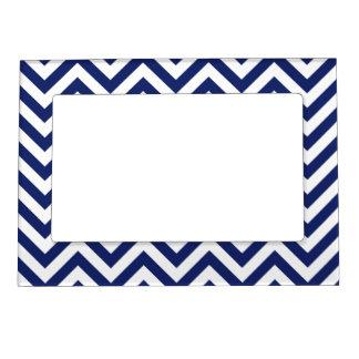 Navy Blue and White Zigzag Stripes Chevron Pattern Magnetic Photo Frame