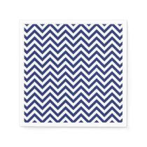 Navy Blue and White Zigzag Stripes Chevron Pattern Napkin