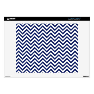 "Navy Blue and White Zigzag Stripes Chevron Pattern Skins For 14"" Laptops"